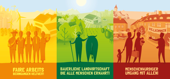 Faire Arbeitsbedingungen weltweit - Bäuerliche Landwirtschaft, die alle Menschen ernährt - Menschenwürdiger Umgang mit allen!